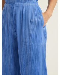 Pleats Please Issey Miyake - Blue Classic Wide-leg Pleated Trousers - Lyst