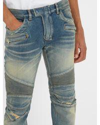 Balmain - Blue Biker Jeans for Men - Lyst