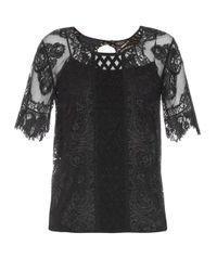 Burberry Prorsum - Black Round-neck Contrast-lace Top - Lyst