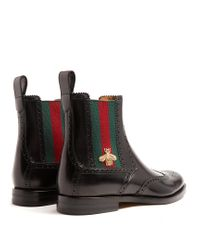 Gucci | Black Web-striped Leather Chelsea Boots for Men | Lyst