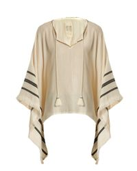 Velvet By Graham & Spencer - Natural Petunia Embroidered Cotton Poncho Top - Lyst