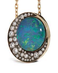 Noor Fares - Blue Diamond, Opal & Grey-gold Necklace - Lyst