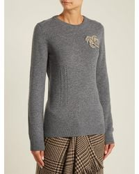 N°21 - Gray Crystal-appliqué Cashmere Knit Sweater - Lyst