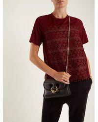 MUVEIL - - Star Embroidered Cotton Blend T Shirt - Womens - Burgundy - Lyst