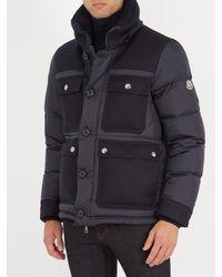 Moncler - Blue Rillieux Contrast-panel Down Coat for Men - Lyst