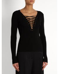 A.L.C. - Black Solan-up Ribbed-knit Top - Lyst