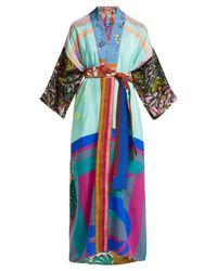 Rianna + Nina - Blue Vintage Patchwork Silk Kimono Jacket - Lyst