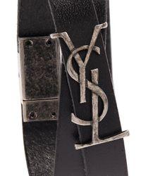 Saint Laurent - Black Monogram Leather Bracelet for Men - Lyst