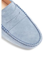Tod's - Blue Gommini Suede Loafers - Lyst