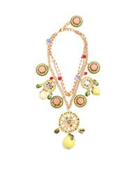 Dolce & Gabbana - Yellow Floral And Lemon-charm Embellished Necklace - Lyst