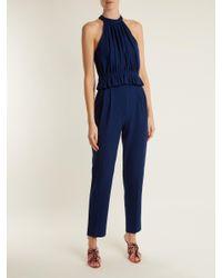 Emilia Wickstead - Blue Everette Halterneck Wool Crepe Jumpsuit - Lyst