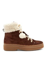 Tod's - Brown Shearling-lined Suede Après-ski Boots - Lyst