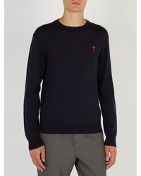 AMI - Blue Logo Embroidered Wool Sweater for Men - Lyst