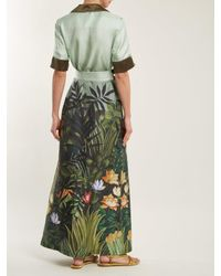 F.R.S For Restless Sleepers - Green Floral-print Tie-waist Silk-twill Shirtdress - Lyst