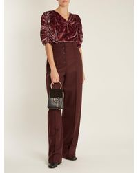 Rebecca Taylor - Red Jewel Ruched-sleeve Floral-print Velvet Top - Lyst