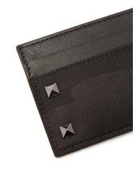 Valentino - Black Rockstud Camouflage Jacquard Cardholder for Men - Lyst