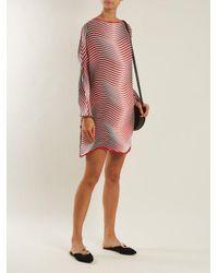 Issey Miyake - Red Flow Cosmic-stripe Pleated Dress - Lyst