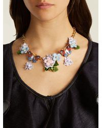 Dolce & Gabbana - Multicolor Hydrangea And Butterfly-embellished Necklace - Lyst