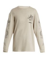 Maharishi - Gray Stencil Dragon Logo-embroidered Cotton Sweatshirt - Lyst