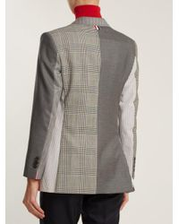 Thom Browne - Gray Single-breasted Contrast-panel Wool Blazer - Lyst