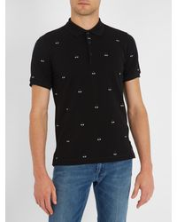 Fendi | Black Bag Bugs-embroidered Cotton-piqué Polo Shirt for Men | Lyst