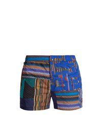 Missoni - Blue Patchwork Zigzag Print Swim Shorts for Men - Lyst