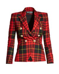 Balmain - Red Double-breasted Wool Blazer - Lyst