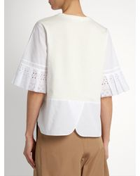 MUVEIL - White Broderie-anglaise Pleated-cuff Cotton T-shirt - Lyst