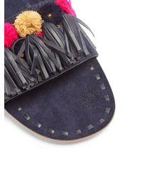 Figue - Blue Noona Pompom-embellished Suede Slides - Lyst