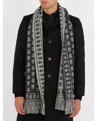 Alexander McQueen - Gray Skull-jacquard Wool Scarf for Men - Lyst