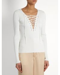 A.L.C. - White Solan-up Ribbed-knit Top - Lyst