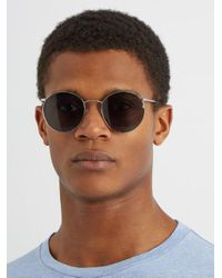 Andy Wolf - Blue 4710 Round-frame Metal Sunglasses for Men - Lyst