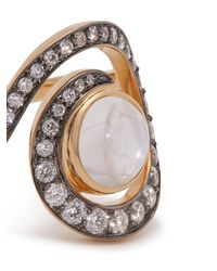 Noor Fares - Metallic Planet Spiral 18kt Gold, Diamond & Moonstone Ring - Lyst