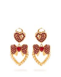 Dolce & Gabbana - Red Heart Drop Crystal-embellished Earrings - Lyst