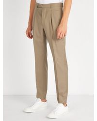 Officine Generale - Natural Marcel Slim-leg Cotton Trousers for Men - Lyst