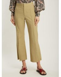 Isabel Marant - Natural Reeves Kick Flare Linen Blend Cropped Trousers - Lyst
