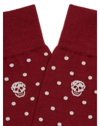 Alexander McQueen | Red Polka-dot And Skull-jacquard Socks for Men | Lyst