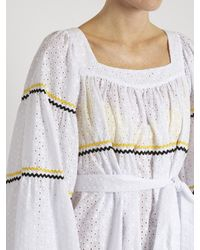 Lisa Marie Fernandez White Ric-rac Trimmed Broderie-anglaise Cotton Dress