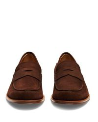 Tod's - Brown Round-toe Nubuck Penny Loafers for Men - Lyst