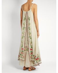 Mes Demoiselles - Natural Josephine Floral-embroidered Cotton Dress - Lyst