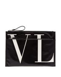 Valentino - Black Pochette à double fermeture à glissière Vltn for Men - Lyst