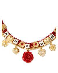 Dolce & Gabbana - Red Amore-embellished Necklace - Lyst
