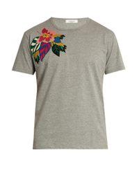 Valentino Gray Floral-appliqué Cotton T-shirt for men