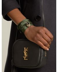Saint Laurent - Green Wraparound Silk Bracelet - Lyst