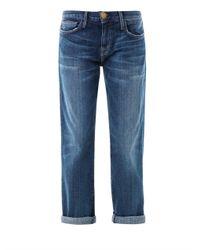 Current/Elliott - Blue The Boyfriend Low-Rise Stretch-Denim Jeans - Lyst