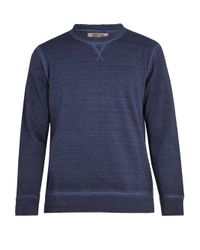 120% Lino - Blue Linen And Cotton-blend Sweatshirt for Men - Lyst