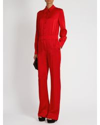 Sonia Rykiel - Red Point-collar Long-sleeved Cady Jumpsuit - Lyst