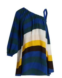 Fendi - Blue Wave-print One-shoulder Short Kaftan - Lyst