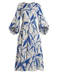 Andrew Gn Blue Rye-print Puff-sleeved Silk-georgette Midi Dress