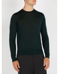 Giorgio Armani - Green Fine-knit Wool Sweater for Men - Lyst